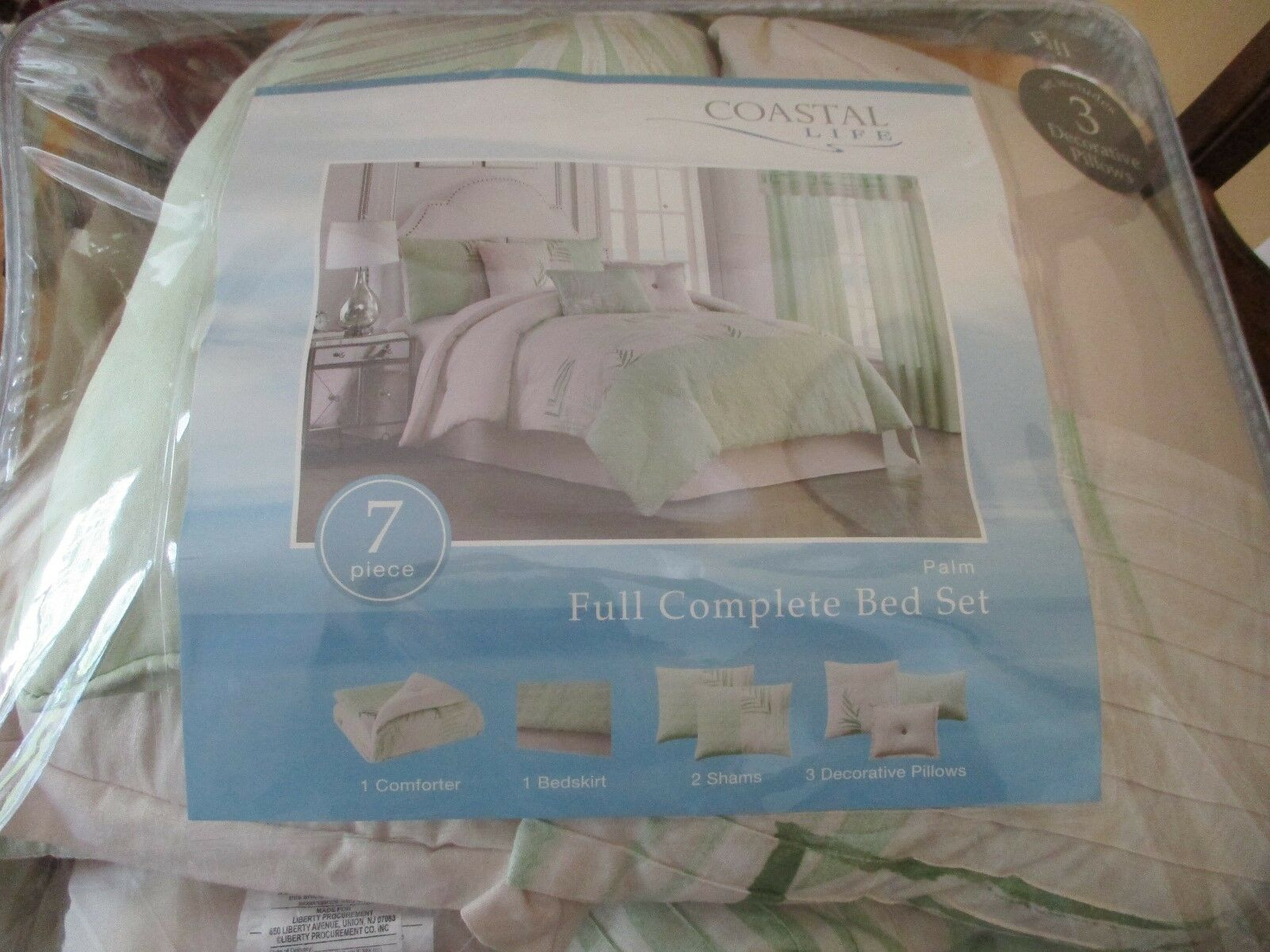 COASTAL LIFE PALM 7-PIECE FULL COMPLETE COMFORTER SET IN LIGHT GREEN