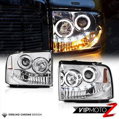 2005 2006 2007 Ford F250 F350 Super Duty SD Chrome Halo LED Projector Headlights