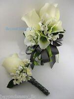 Cream Green Gray Wedding Prom Rose Flower Wrist Pin On Corsage Boutonniere Set