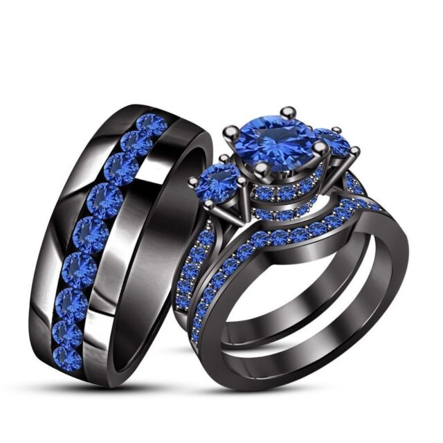 14k Black Gold Finish 2ct Blue Shire His Her Trio Wedding Band Ring Set