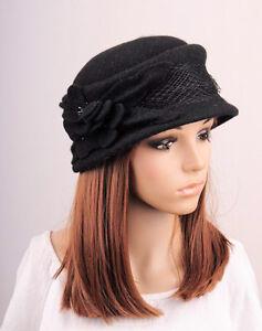 Women s Stylish Porkpie Flower Lace Wool Bowler Winter Hat Cap ... 4d9c5ebfa2