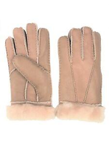 Women-039-s-Genuine-Sheepskin-Tan-Warm-Leather-Shearling-Fur-Gloves
