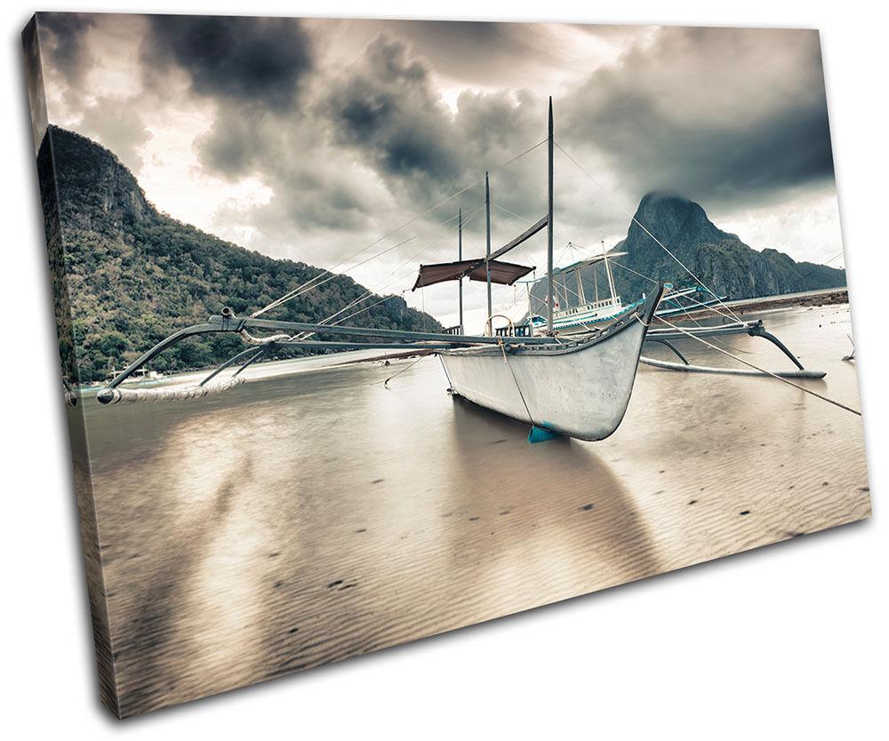 Beach Boat  Sunset Seascape SINGLE TELA parete arte foto stampa