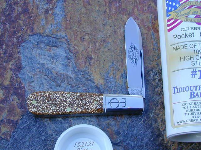 GREAT EASTERN GEC TIDIOUTE GLITTER GOLD ACRYLIC BARLOW KNIFE RARE MIT 152121