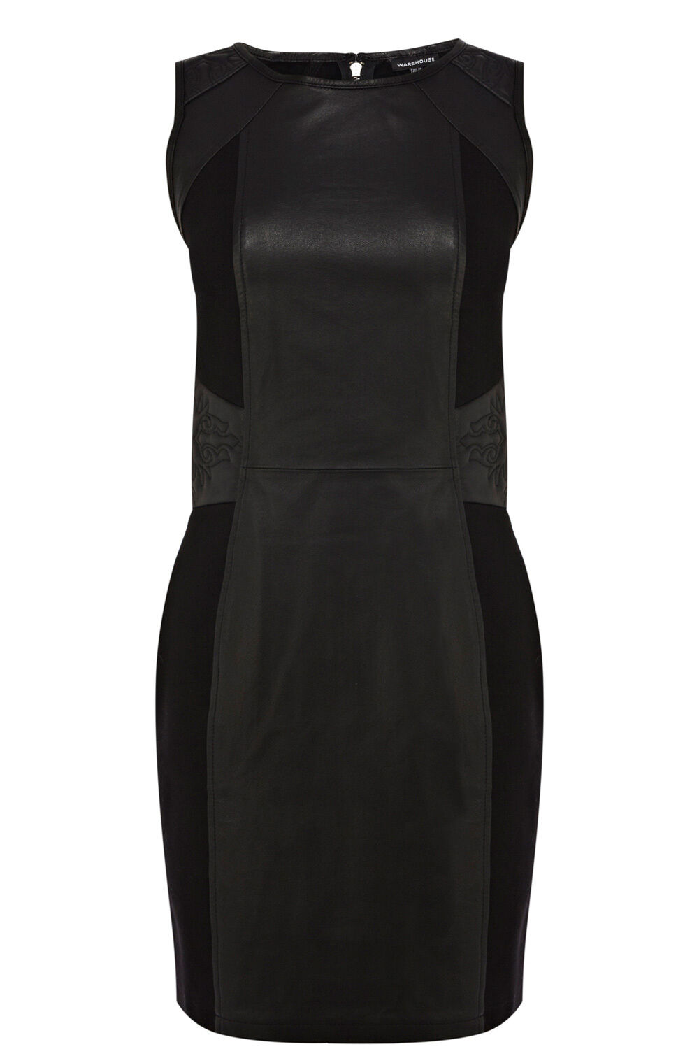 WAREHOUSE EMBROIDERED DETAIL LEATHER DRESS 10