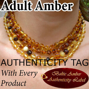 RARE COLOURS Authentic Baltic Amber ADULT NECKLACES natural health