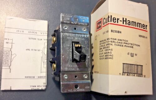 EATON CUTLER HAMMER B230BN Manual Motor Switch 2-15 HP 120-600V 2 POLE 30 AMP