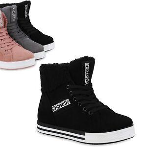c8169c2fae9c5e Das Bild wird geladen Damen-Sneaker-High-Warm-Gefuetterte-Turnschuhe-Winter- Schuhe-