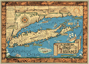 Early Pictorial Map Of Long Island Historic Wall Print Poster - Historical wall maps
