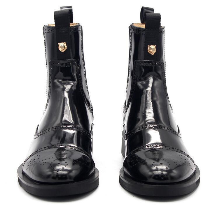 Punk Winter Mens stivali High Top Elastic Mid Calf British Carved Chelsea scarpe sz