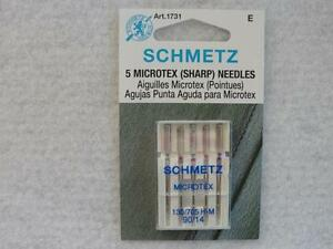 90//14 Schmetz Sewing Machine Needles Microtex Size