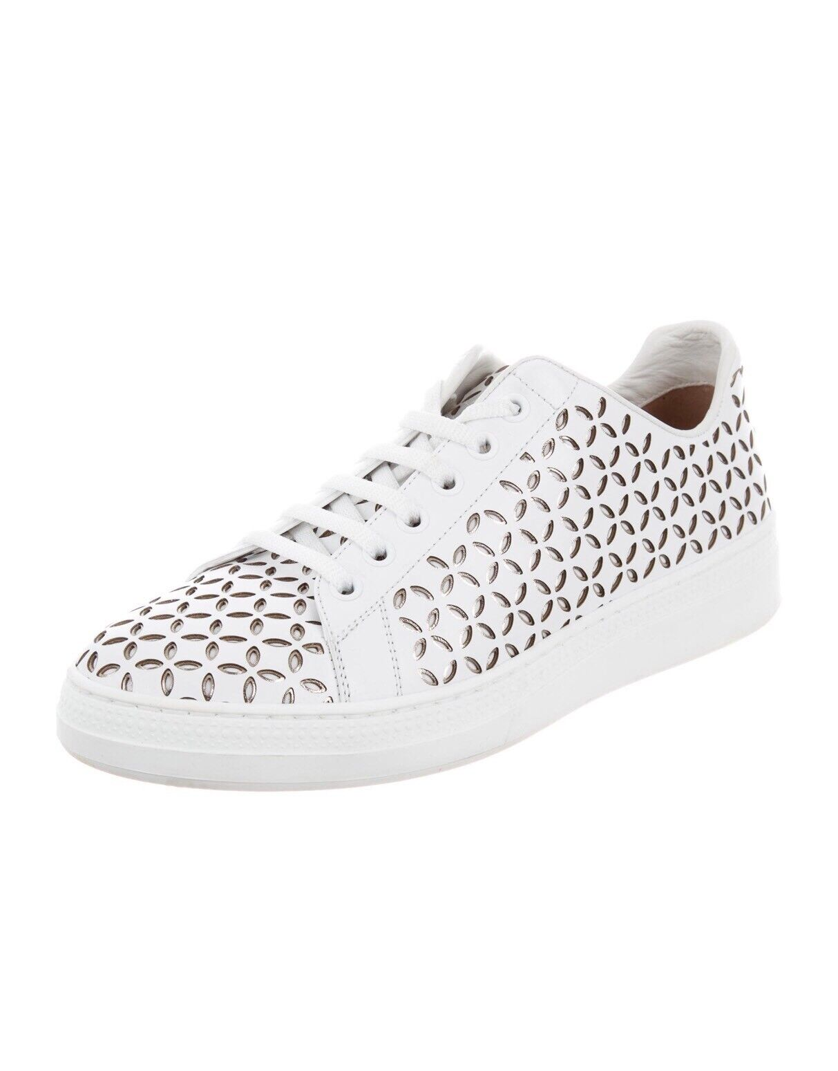New Alaia White Leather Flower-Print Laser Cut Low-Top Sneakers 40/10US $995.00