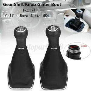 5/6 Speed Gear Shift Knob Gaitor Boot Leather 23mm For Golf 4 Bora Jetta MK4 VW