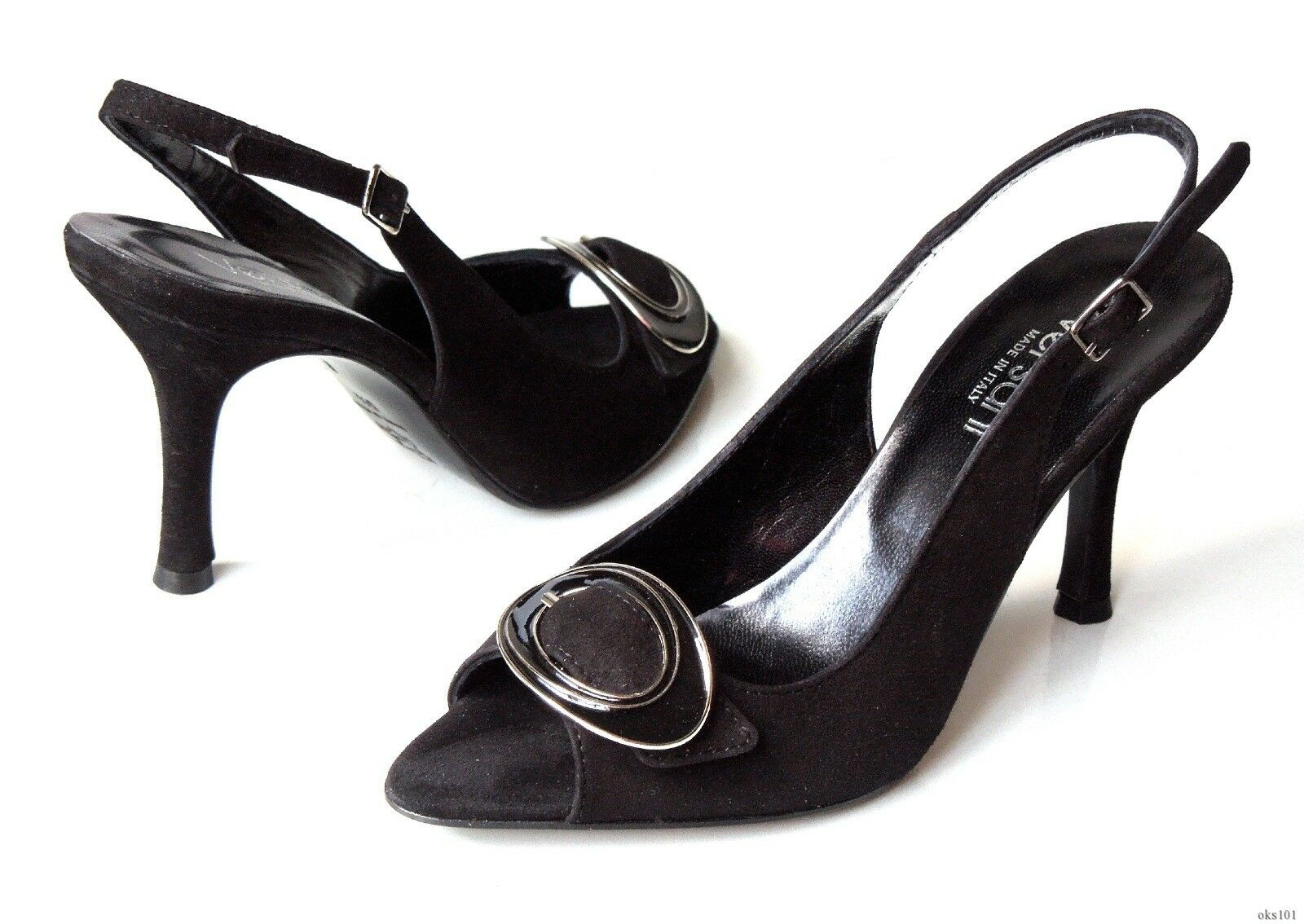 New Versani 2041 schwarz suede open-toe BUCKLE slingback PUMPS schuhe  - sexy