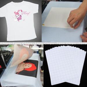 10-x-a4-T-Shirt-Trasferire-Carta-Ferro-su-tessuti-leggeri-stampa-a-getto-d-039-inchiostro-pressa-di