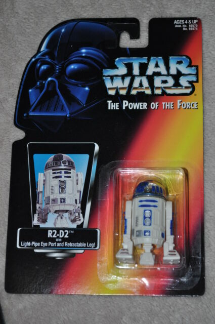 STAR WARS POWER OF THE FORCE R2-D2 W/ LIGHT-PIPE EYE PORT & RETRACTABLE LEG MOSC