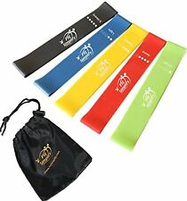 Resistance Loop Exercise Bands With Instruction Guide Carry Bag Set of 5