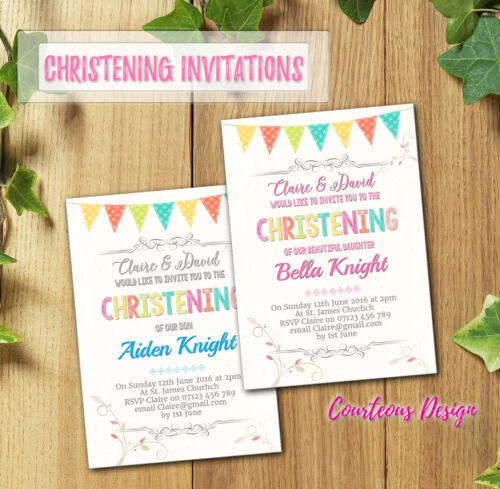 Christening Invitations Baptism //Thank You Cards Boy Girl Personalised /& Printed