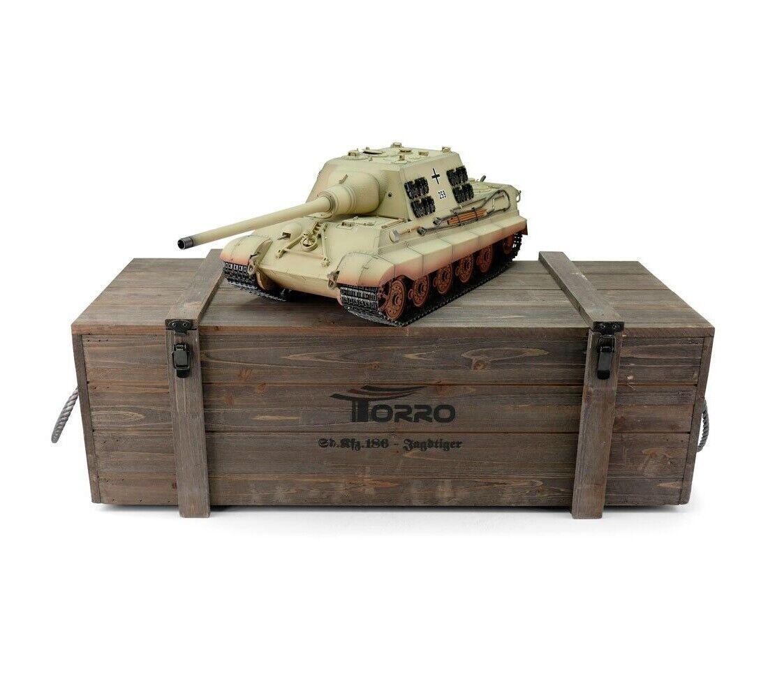 1 16 Torro German Jagdtiger RC Tank 2.4GHz Infrared Metal Edition PRO Desert
