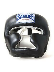 Sandee-Leder-Geschlossen-Gesicht-Kopf-Schutz-Muay-Thai-Kickboxen-Sparring-Gang