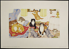 Linda Jane SMITH, Offset Lithograph, The Jones, Signed, Cute Kitties