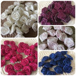 Unico-Piccolo-Rotondo-Nastro-Di-Raso-Rose-Buds-Abbellimenti