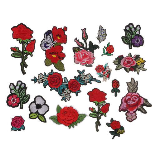17 Stück Patches zum Aufbügeln Blume Gestickte Patch Sticker Aufnäher