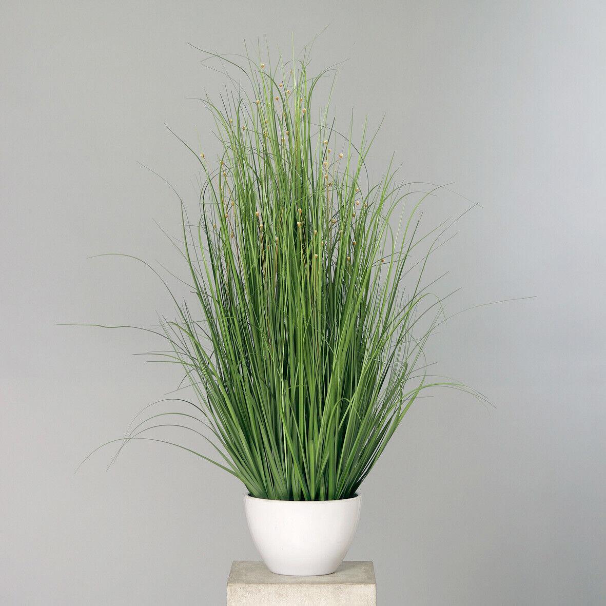 Grasbusch mit Blüten 100x80cm im weißen Rundtopf DP Kunstpflanzen Kunstgras