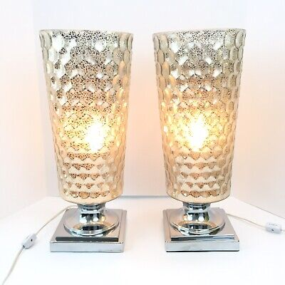 Set of 2 Modern Contemporary Table Lamps Cylinder Uplights Mercury Glass Silver | eBay