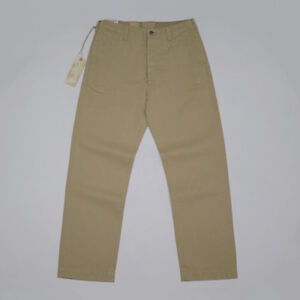 BOB-DONG-HBT-Officer-Pants-Selvage-Vintage-Men-039-s-Military-Trousers-Khaki-Chino