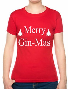 Merry-Ginmas-Funny-Christmas-Present-Xmas-Funny-Novelty-Ladies-T-Shirt