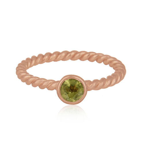 Handmade 18k Rose Gold Plated 925 Silver Peridot Gemstone Ring Jewelry