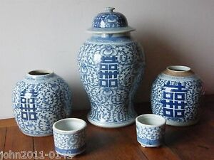 Image Is Loading Antique Chinese Blue White Temple Jar Ginger Jars