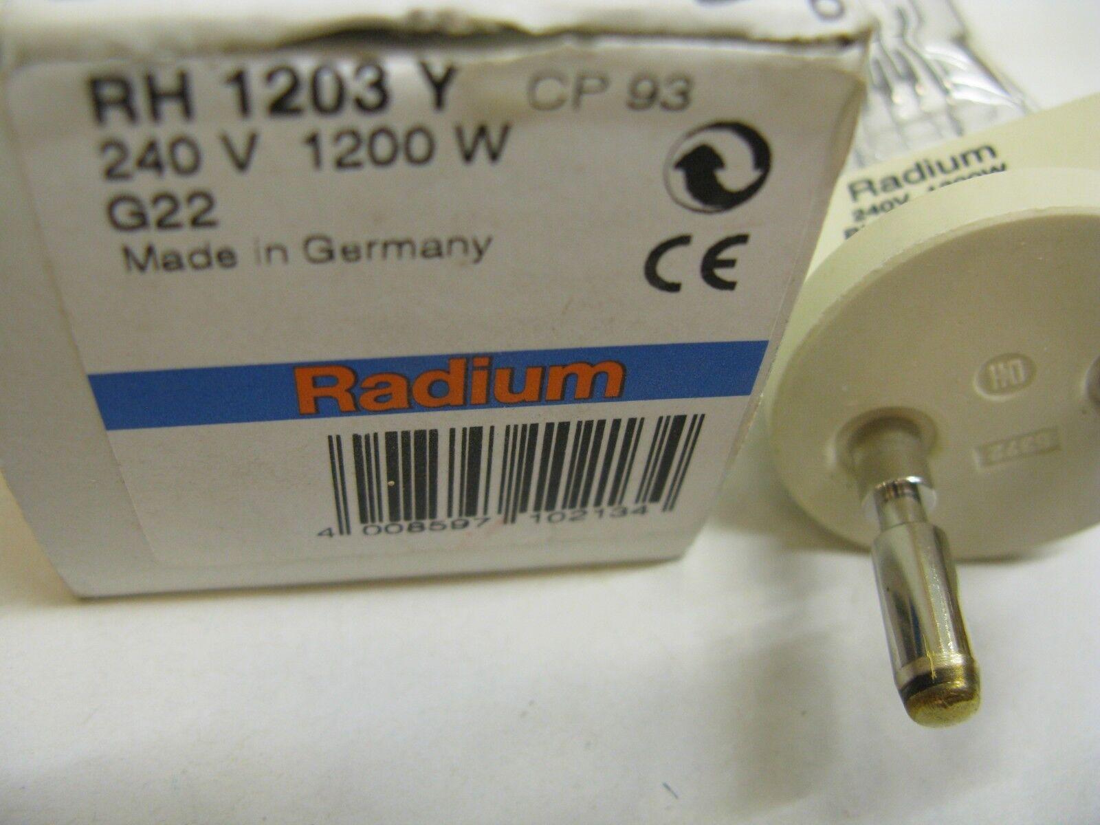 Radium RH 1203 1203 1203 Y CP 93 240V 1200W G22 single ended Lampada Alogena Lampadina  PJ25 215f88