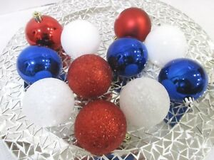Details About Patriotic 4th Of July Red White Blue Shatterproof Ornaments 2 5 Set Of 12