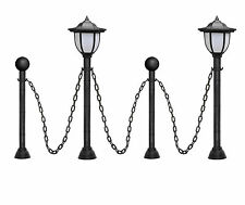"24""Vintage Chain guardrail Lamp Post Lawn Path Light Set for Outdoor Garden Yard"