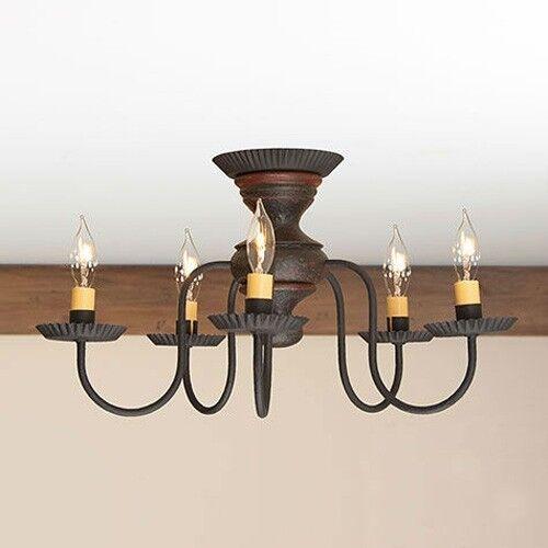 Thorndale 5 Arm Ceiling Light Primitive Flush Mount Chandelier In Espresso Ebay