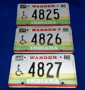 Lot-Of-3-Vintage-1986-Wander-Indiana-License-Plates-Handicap-Sequential-Hoosier