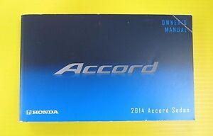 Accord Sedan 14 2014 Honda Owners Owner's Manual OEM 4-cylinder Models