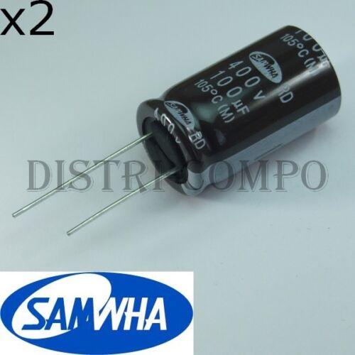 Condensateur 100µF 400V électrolytique radial 31x18mm RM7.5 Samwha lot de 2