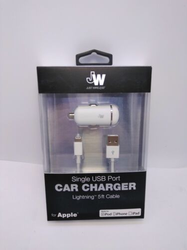 Just Wireless Vehicle Charger 5ft Lightning Cable for Iphone X 8 5 6S 7 SE plus
