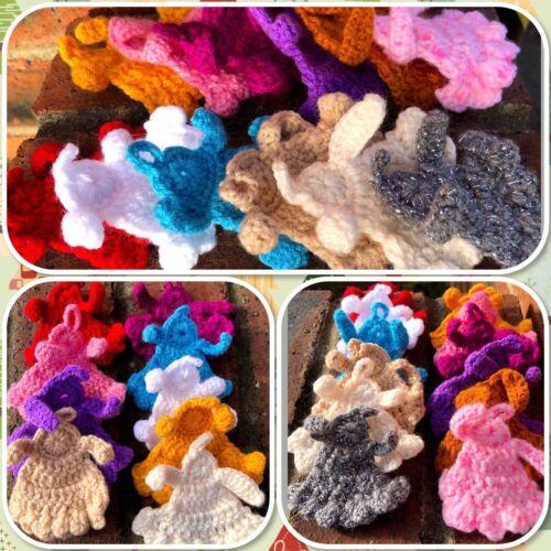 Handmade Angels Decorations Ornaments Christmas Various Colours Crochet Set Of 2