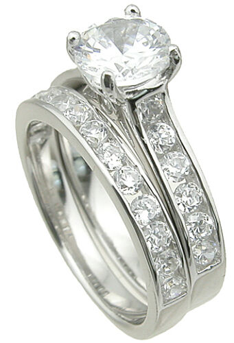 2 CARAT STERLING SILVER ROUND WEDDING ENGAGEMENT RING SET SZE 5,6,7,8,9 FREE BOX