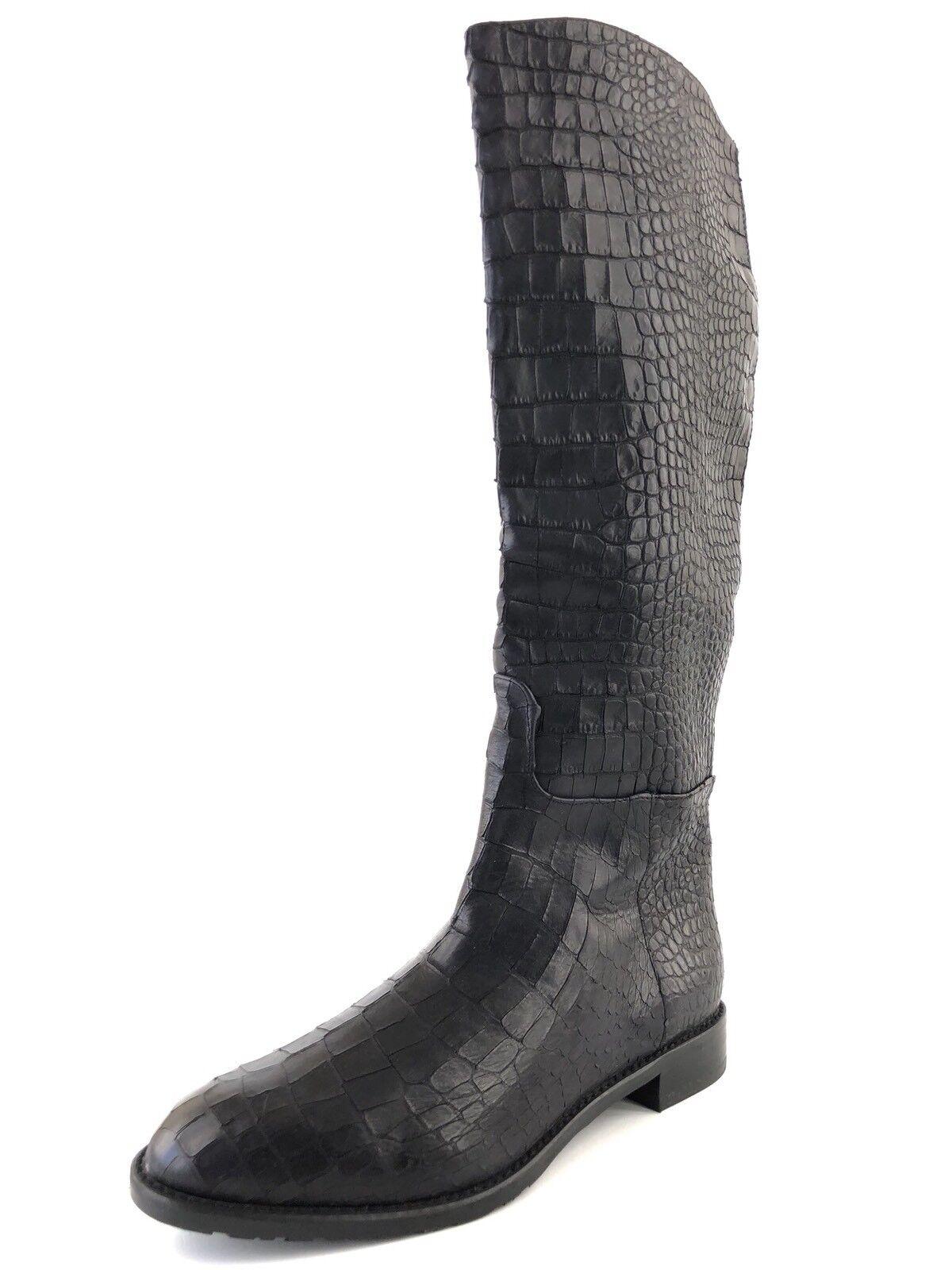 $798 Stuart Weitzman Wayback Black Leather Knee High Boots Womens Size 35.5 M