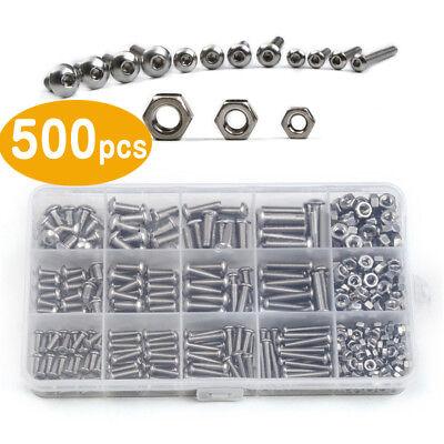 500tlg Set Sechskantschraube Edelstahl M3 M4 M5 Schrauben Innensechskant Nut Cap