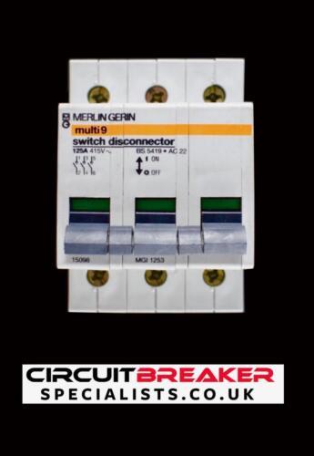 Merlin Gerin 125 Amp triple Pole interruptor principal Seccionador 15098 MGI 1253