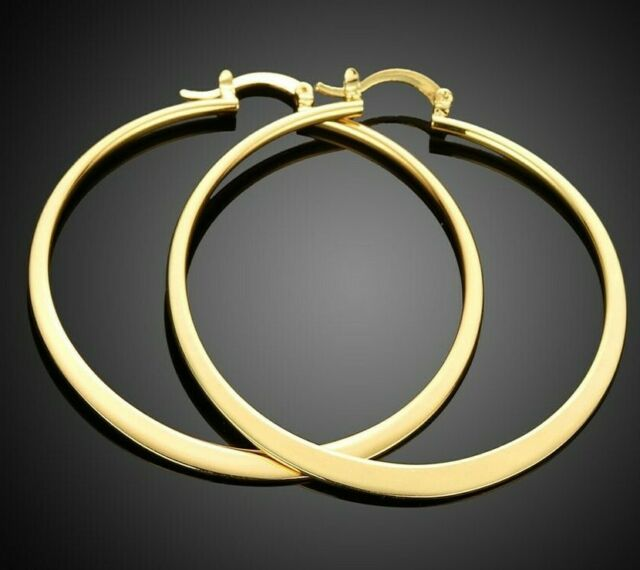 18K Yellow Gold Plated 50mm Light Weight Round Flat Hoop Earrings ITALY MADE