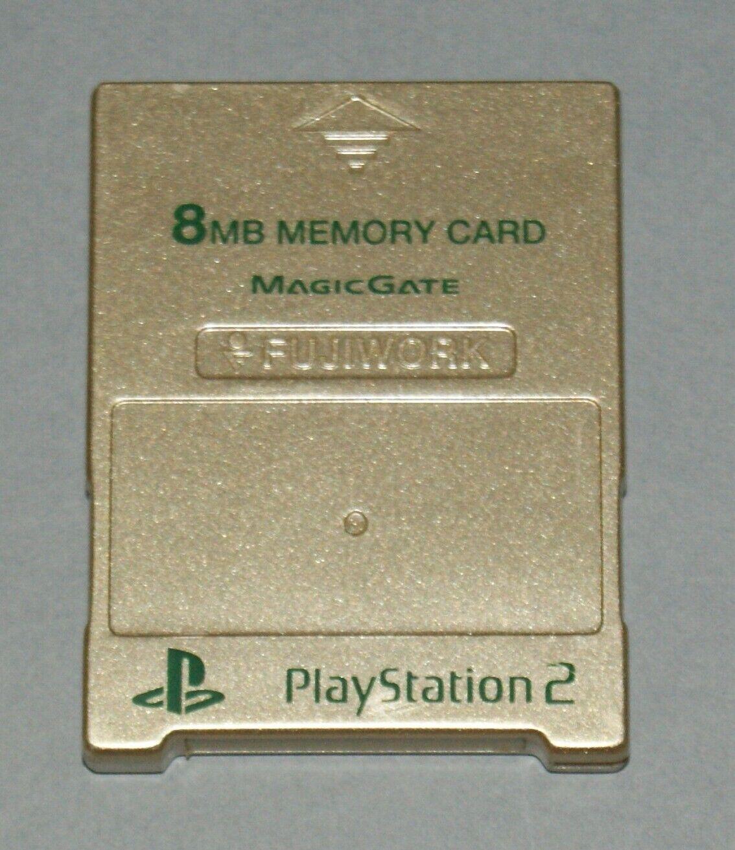 Metallic Gold Fujiwork 8MB PS2 Memory Card - Sony PlayStation 2 Tested Fuji