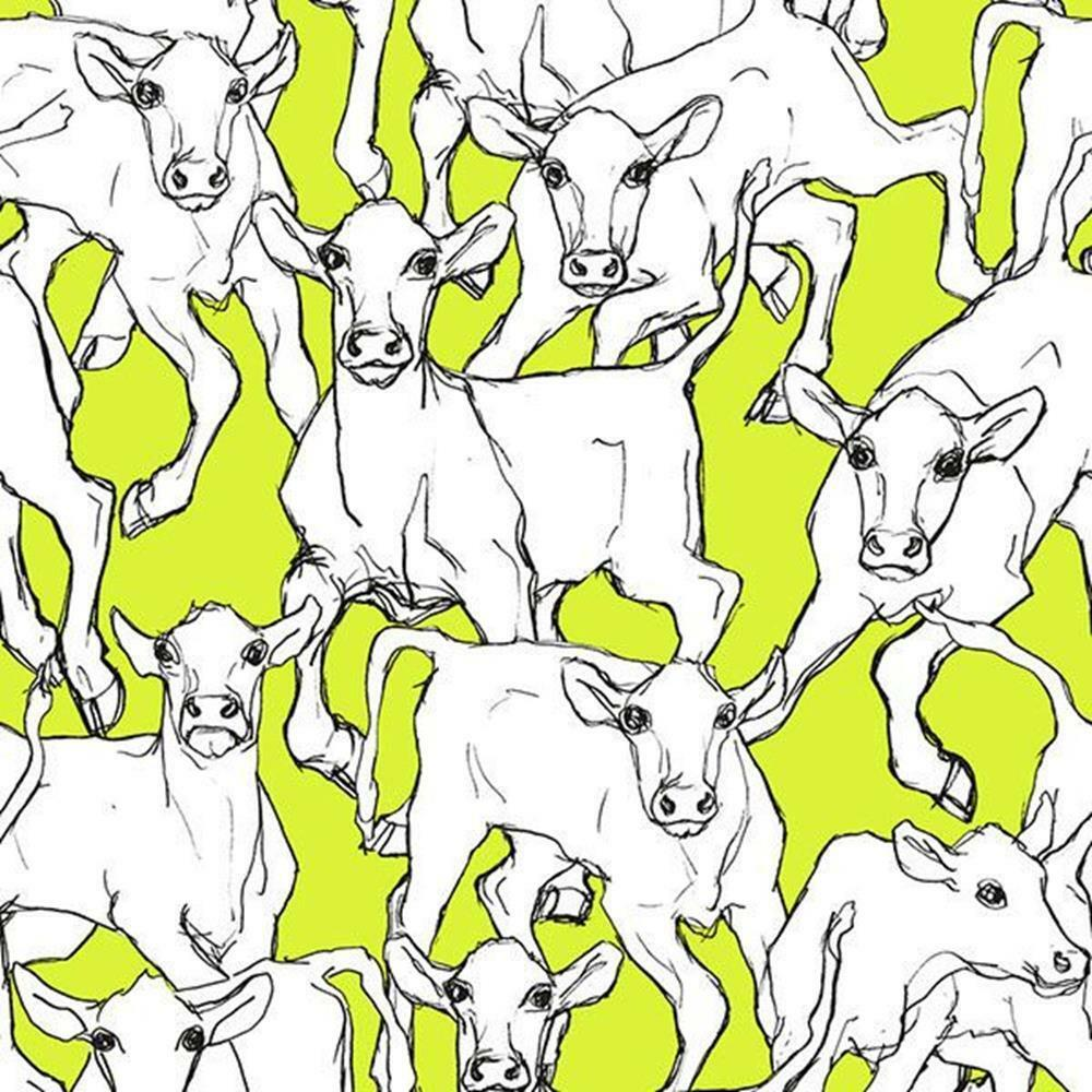14105 - Marimekko 5 Cows White Green Galerie Wallpaper