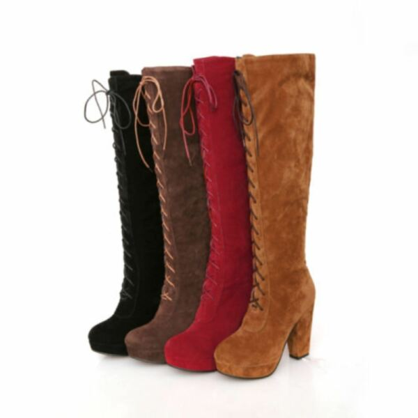 Lace Up Womens Platform High Block Heel Faux Suede Knee High Riding Boot Shoes